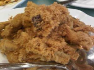 Brinjal Chips with Pork Floss