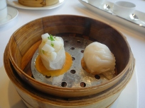 Steamed Squid and Zucchini Dumplings and Shrimps with lilybuds