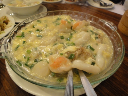 Seafood Hor fun with Egg gravy (hua dan hor fun)