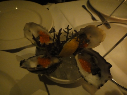 Fresh Oysters topped with Tobiko Roes