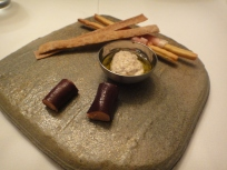 Bread Sticks, cheese dip, wrapped Foie Gras