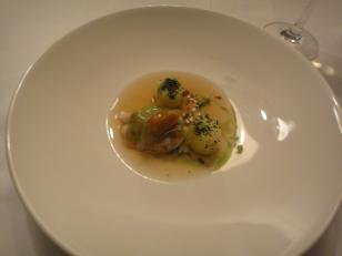 Shrimp, portato and dashi reduction