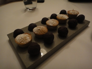 Lined Chocolate truffles with Madelines in between