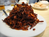 Fried spicy slices of pork