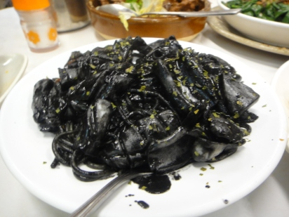 black squid ink pasta with squid