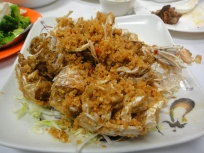 Fried pissing prawn in bi feng tang style