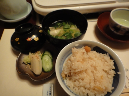 Mushroom with rice, Toufu soup and pickles