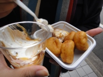 Soyabean doughnuts :) + vanilla ice-cream with caramel