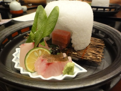 sashimi - flying fish, sea bream and ... of course the most important VIP in the igloo..