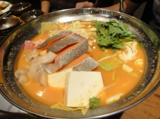 Kimchi seafood hotpot with chicken broth