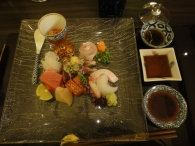 Dish #3 : Assorted sashimi with 3 different dipping sauce : the normal shoyu, the lighter version and one with ponzu