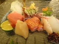 close up of the sashimi - Otoro (tuna belly), Mackeral, Scallop, Aburi Salmon belly, Sea Bream, Ika (Squid)