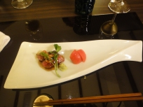 Dish #7 : Wagyu Beef fried with garlic and to be topped with wasabi, seasonal tomato