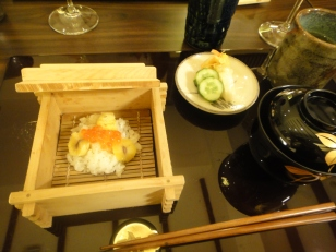 Dish #8 : Chestnut Steamed Rice topped with Tabiko roes, tsukemono ( pickled cucumber and raddish, miso soup