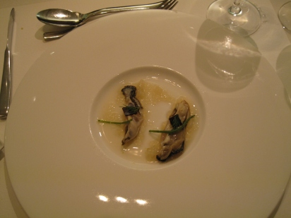 Oyster with bonito - drizzled with Sage, Ocean Leavs and balsamic
