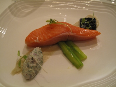 Ocean Trout with Artichoke mousse, laid on asparagus violet potato and avruga