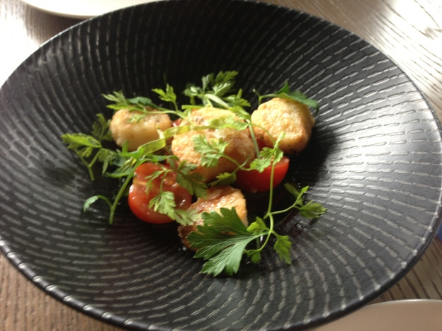 Seared Scallops with Sauce vierge and herbs
