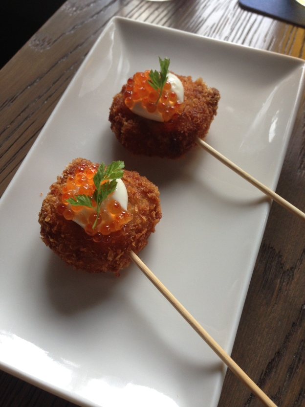 Crabcakes with Mayo and Ikura (fish roe)