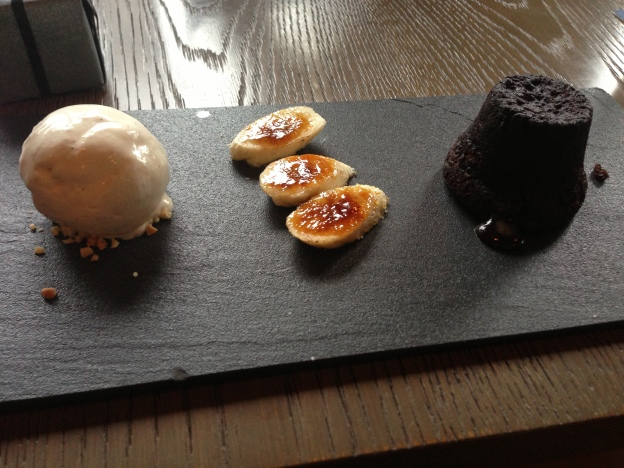 Chocolate Foundant with Peanut Butter, Banana Brulee and Vanilla Ice-cream