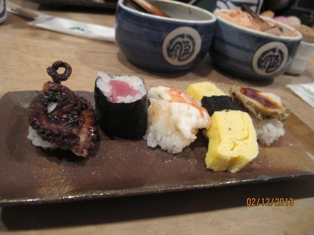 No.3 : Tako (Octopus),  Tekka (Tuna Roll), Ebi (Prawn) , Tamgo (Egg), Awabi (Abalone)