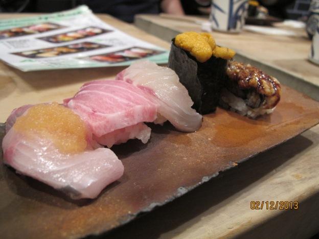 No 1. Hamachi(Yellow Tail), Toro (Fatty Tuna), Tai (Sea Bream), Uni (Sea Urchin), Anago (Sharp Toothed Eel)