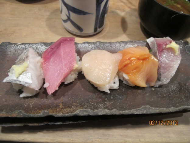 No. 2:  Flatfish, Toro (Fatty Tuna), Hotate (Scallop), Akagi (Top Shell), Hamo (Sharp Toothed Eel)