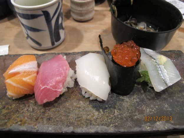 No. 4: Sake (Salmon), Toro (Fatty Tuna), Ika (Squid), Ikura (Salmon Roe), Sayori (Halfbeak)