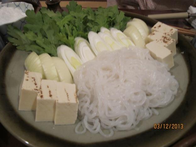 Sukiyaki Accompaniments: Konyaku, Toufu, Leek, Cabbage