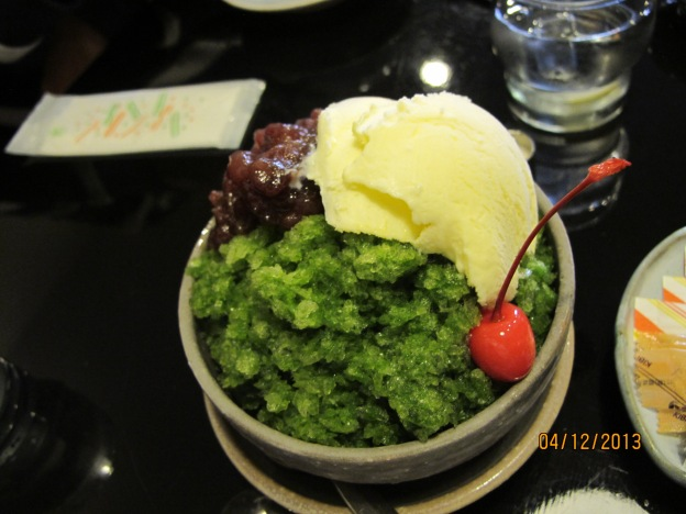 Green Tea Ice with Red Bean and Ice Cream