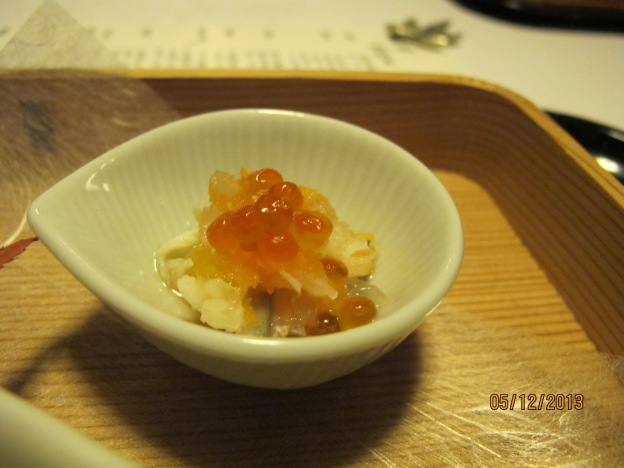 Tobiko with yudoufu