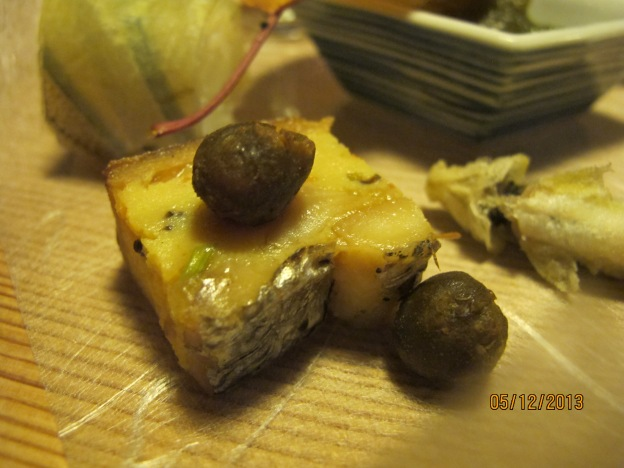 Preserved mackeral slice with baby yam