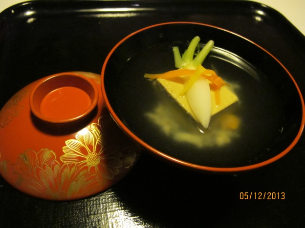 Second Course: Daikon rested on crab miso tofu with yuzu and ginger