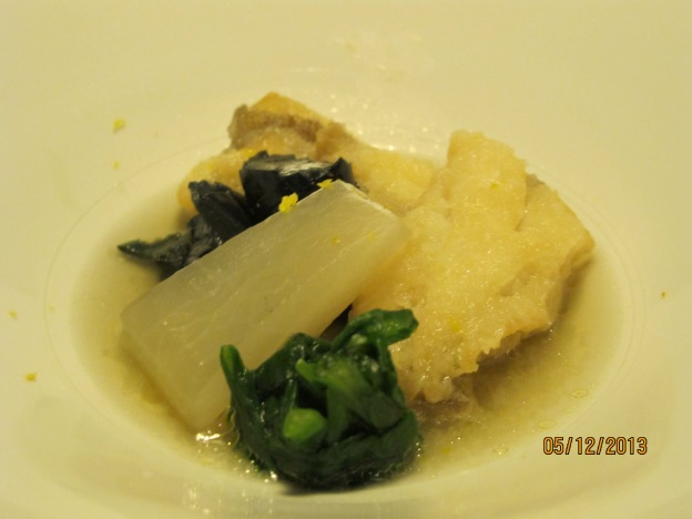 Third Course:  Tempura Fish with Stewed Vegetables : Daikon, Eggplant and Spinach