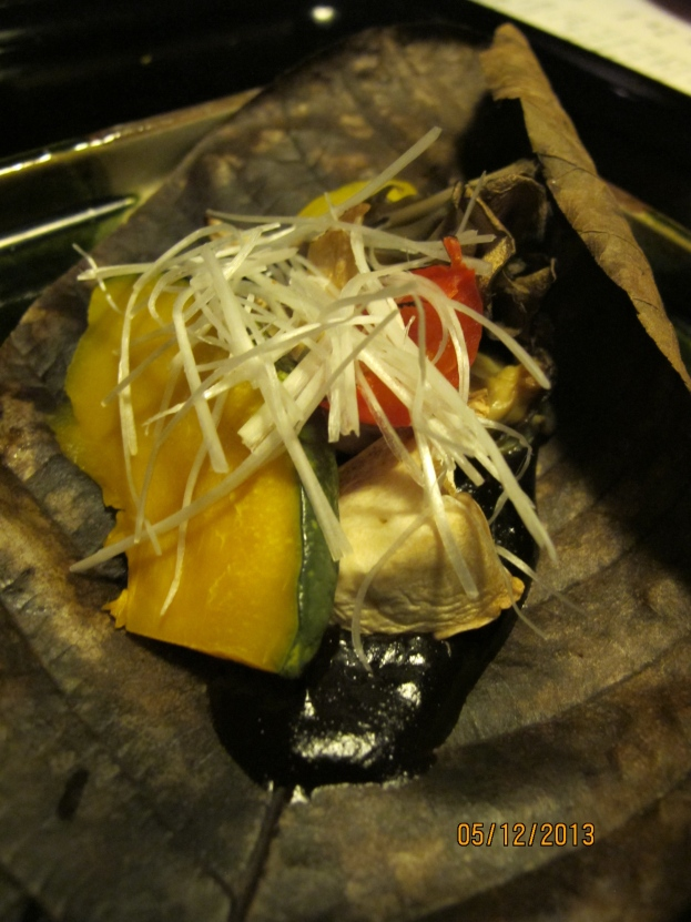 Fifth Course: Grilled seasonal Vegetables (Pumpkin, leek, Yam, Mushrooms,) on a leaf with sweet Miso paste
