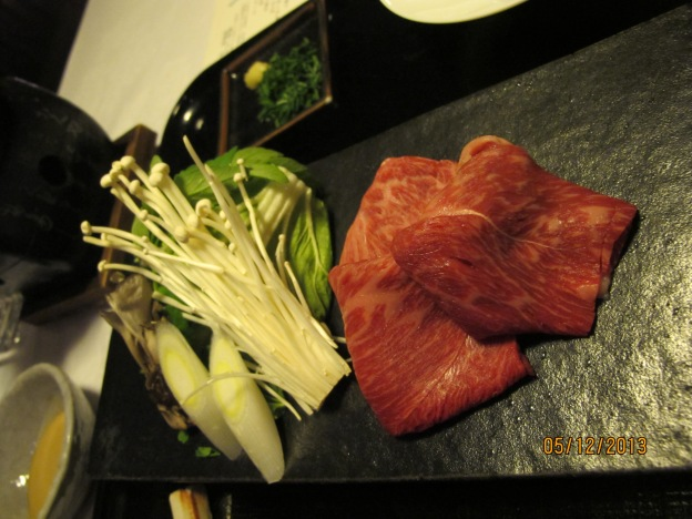 Seventh course: Shabu Shabu ( Beef shabu) with sesame dipping sauce