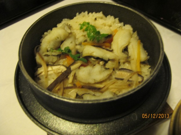 Eighth Course: Anago steamed rice with 3 different types of mushrooms