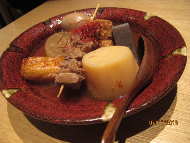 Red Broth: Daikon, Beef, Konyaku, fishcake, Egg, Potato