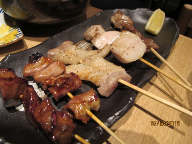 Sticks:  Chicken Liver, Chicken Skin, Pork Belly,