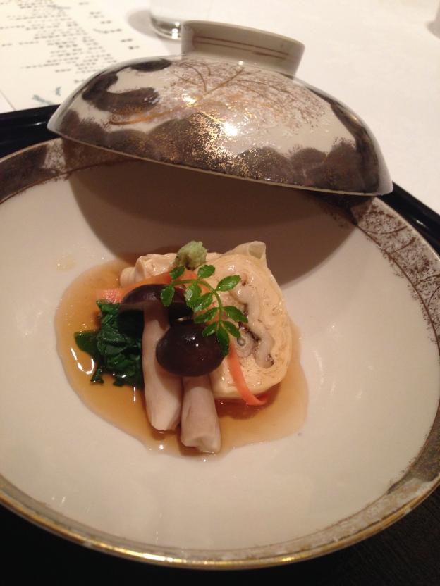 #6: Toufu skin wrapped around Anago, mushroom, spinach
