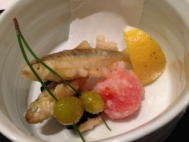 #8: Tempura heirloom tomato and fish