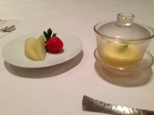 #12: Fruit Platter ( Honey Dew, Strawberry, Pear)  and Yuzu Pudding