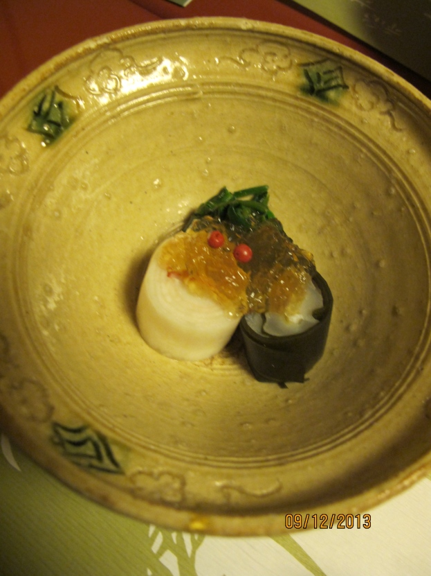 #6: Rolled Daikon, Leek rolled in Kelp. Santa Hat ( Spinach). Santa face/beard) yuzu jelly
