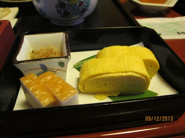 #7: Tamago (Egg) Yaki, fried 'ikan billis', Fish Cake