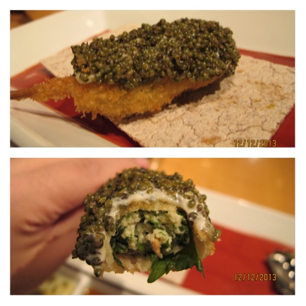 "#5: Mountain Caviar ( Shisho leaf, ""donguri)"