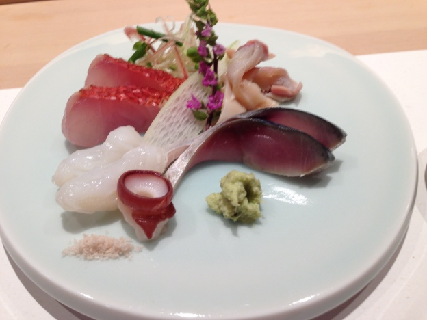 #4: Assorted Sashimi [Gin Meidai (golden eyed sea bream) Tako (Octopus from Hokkaido), Clam, Vinegared Mackerel,