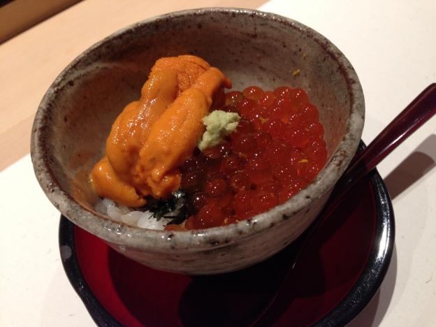 #6: Uni (sea urchin) and Tobiko (fish role) rice