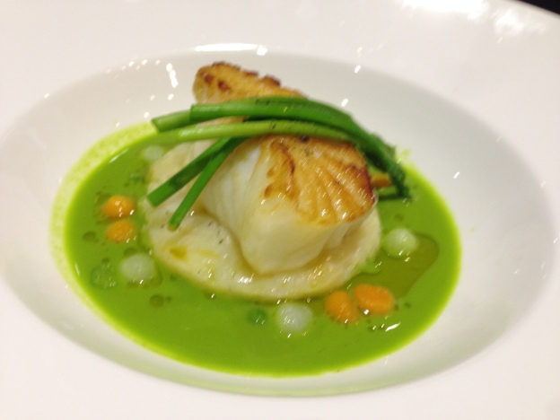 Cod Served on brandade poato with green pea volute, beure noisette & asparagus