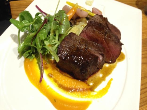Beef Tenderloin Potato au gratin, carrot puree, button mushrooms, red radish, baby carrot & beef jus