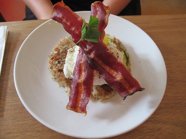Brave Begedil : Poached Eggs with Turkey Bacon and avacado on a corned beef hash