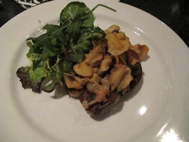 Miso Eggplant, shimeji escabeche & Jerusalem artichoke chips